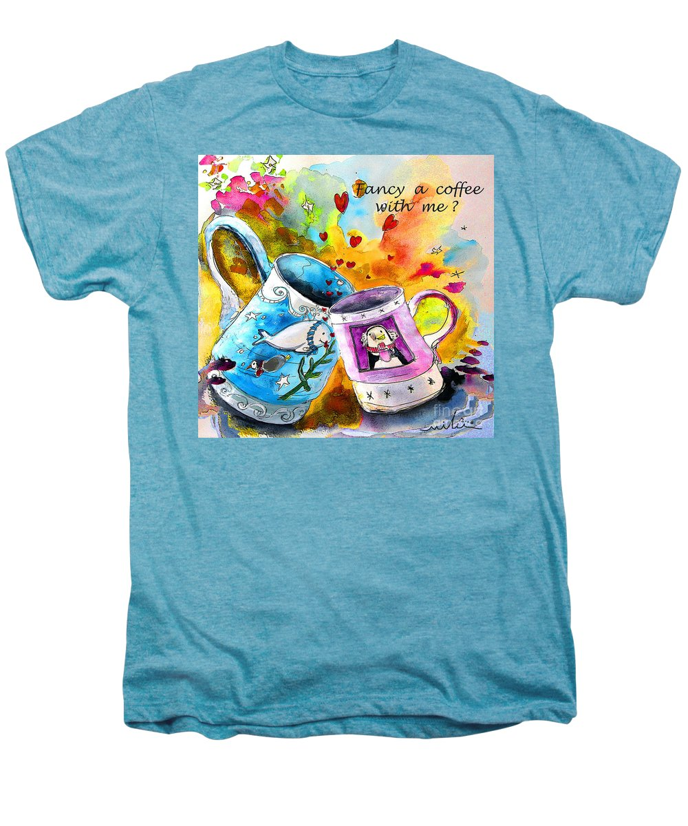Cafe Crem Men's Premium T-Shirt featuring the painting Fancy A Coffee by Miki De Goodaboom