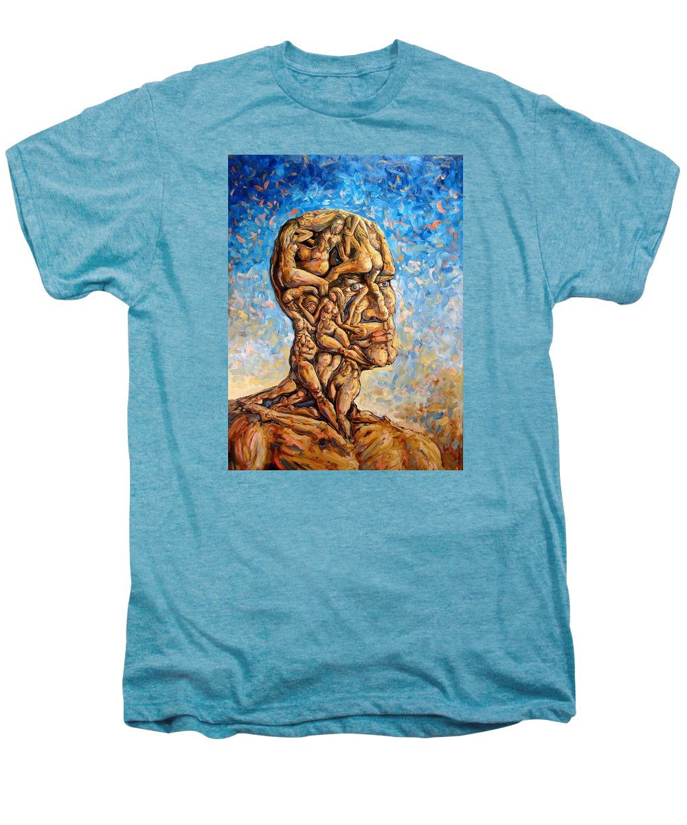 Surrealism Men's Premium T-Shirt featuring the painting Fantasies Of A 120 Years Old Man Struggling To Survive by Darwin Leon
