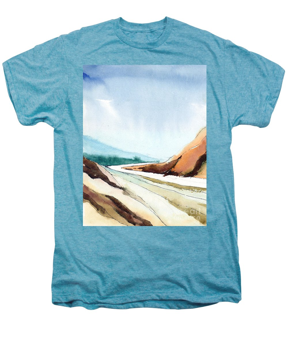 Landscape Men's Premium T-Shirt featuring the painting Far Away by Anil Nene