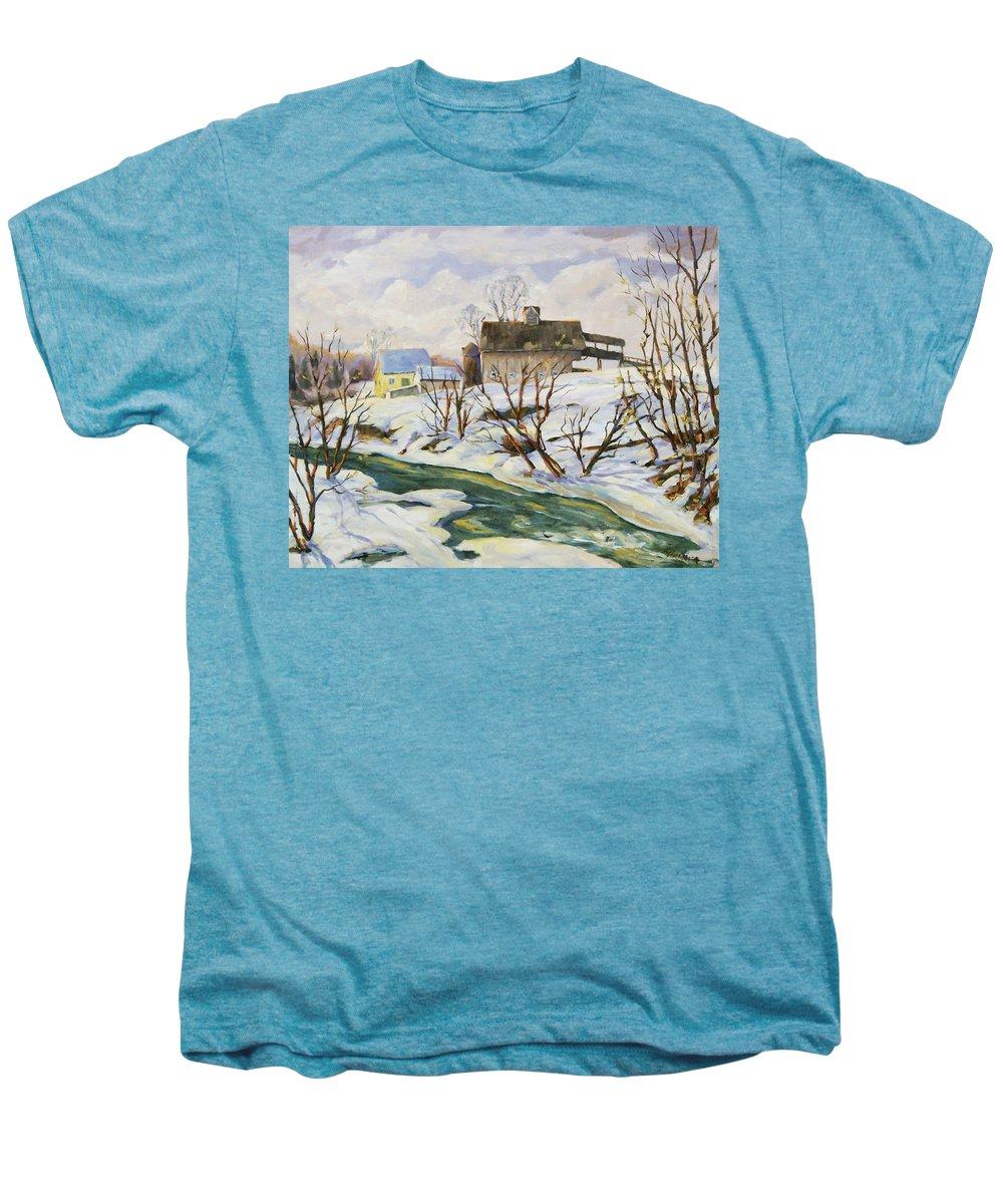 Farm Men's Premium T-Shirt featuring the painting Farm In Winter by Richard T Pranke