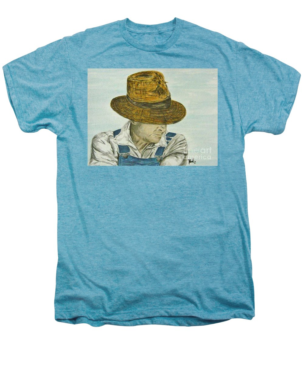Portrait Men's Premium T-Shirt featuring the painting Farmer Ted by Regan J Smith