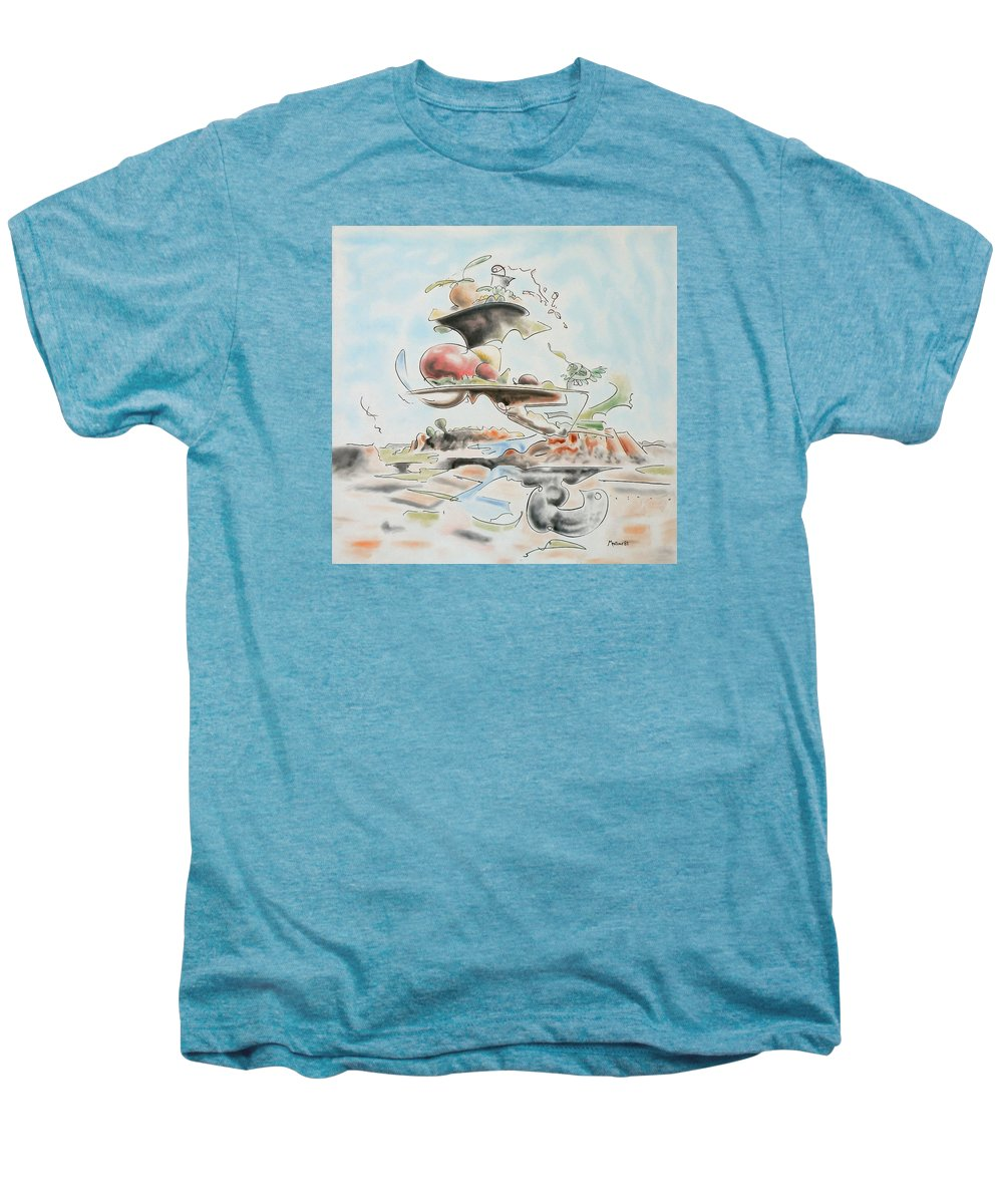Abstract Men's Premium T-Shirt featuring the painting Fast Food by Dave Martsolf