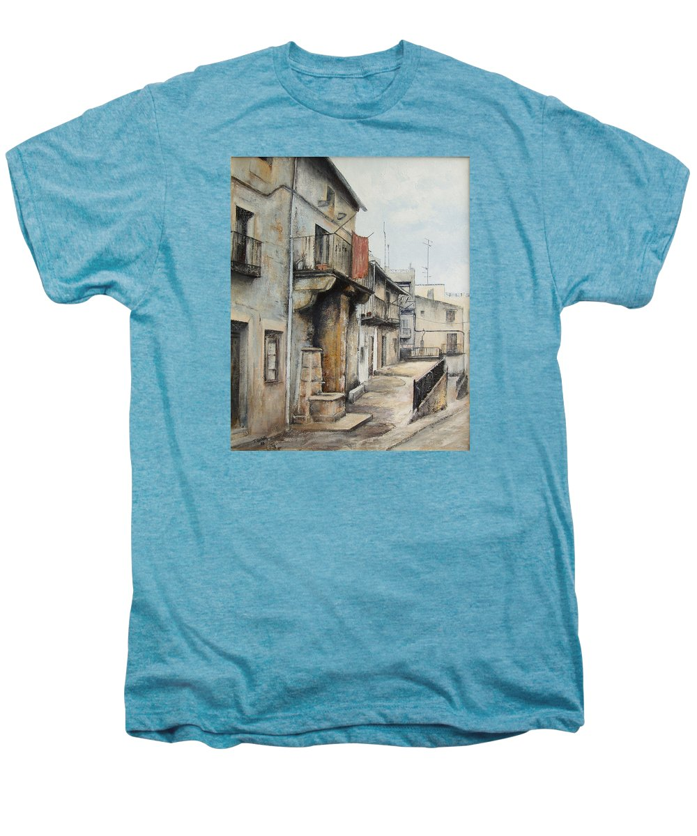 Fermoselle Zamora Spain Oil Painting City Scapes Urban Art Men's Premium T-Shirt featuring the painting Fermoselle by Tomas Castano