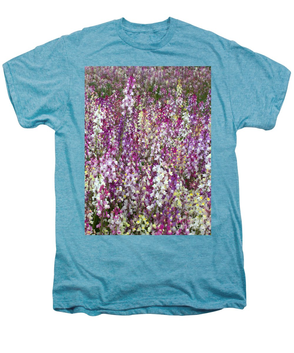 Flowers Men's Premium T-Shirt featuring the photograph Field Of Multi-colored Flowers by Carol Groenen