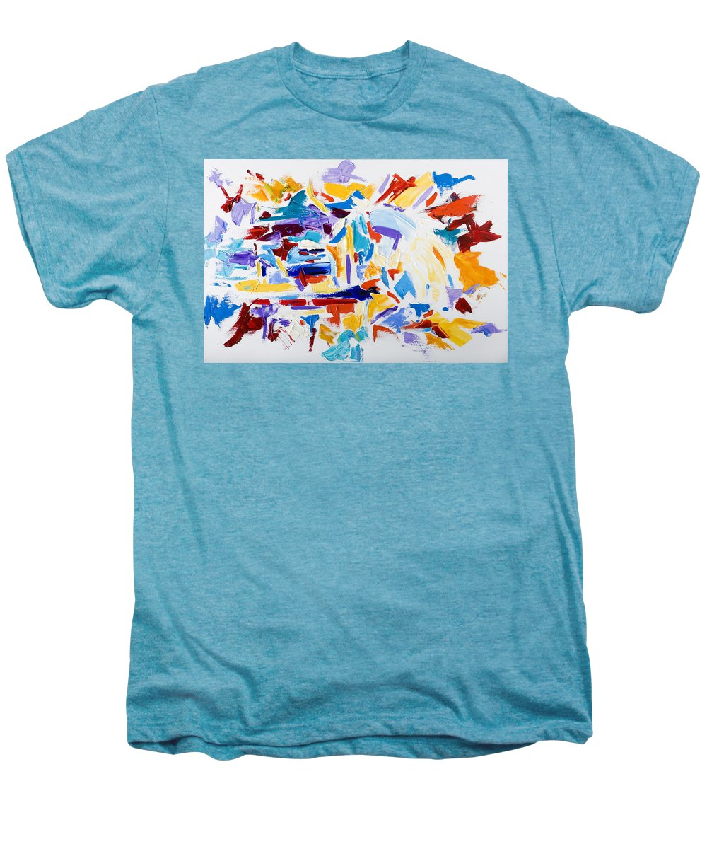 Abstract Yellow Men's Premium T-Shirt featuring the painting Fiesta by Shannon Grissom