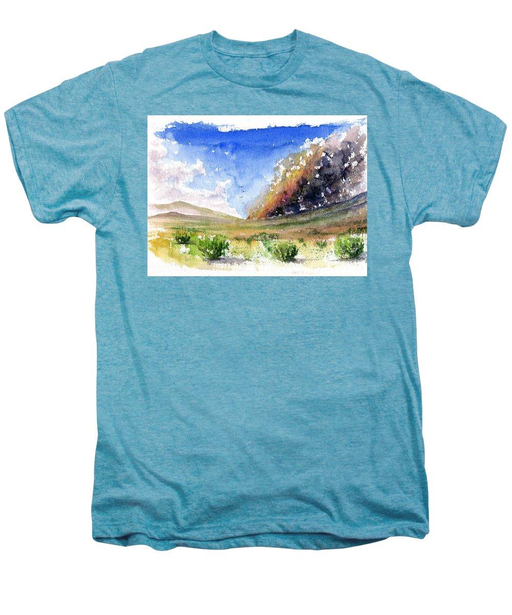 Fire Men's Premium T-Shirt featuring the painting Fire In The Desert 1 by John D Benson