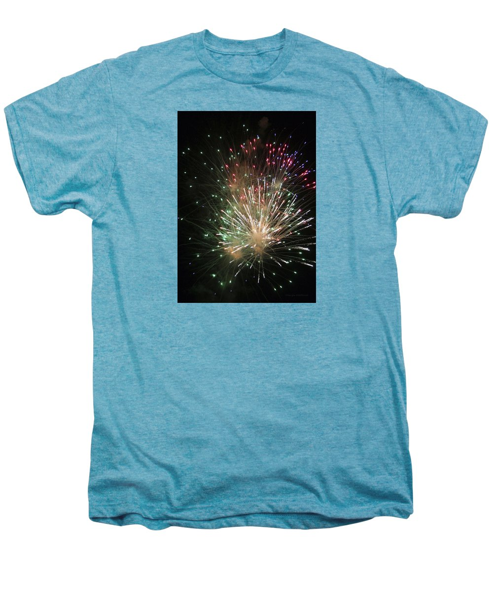 Fireworks Men's Premium T-Shirt featuring the photograph Fireworks by Margie Wildblood