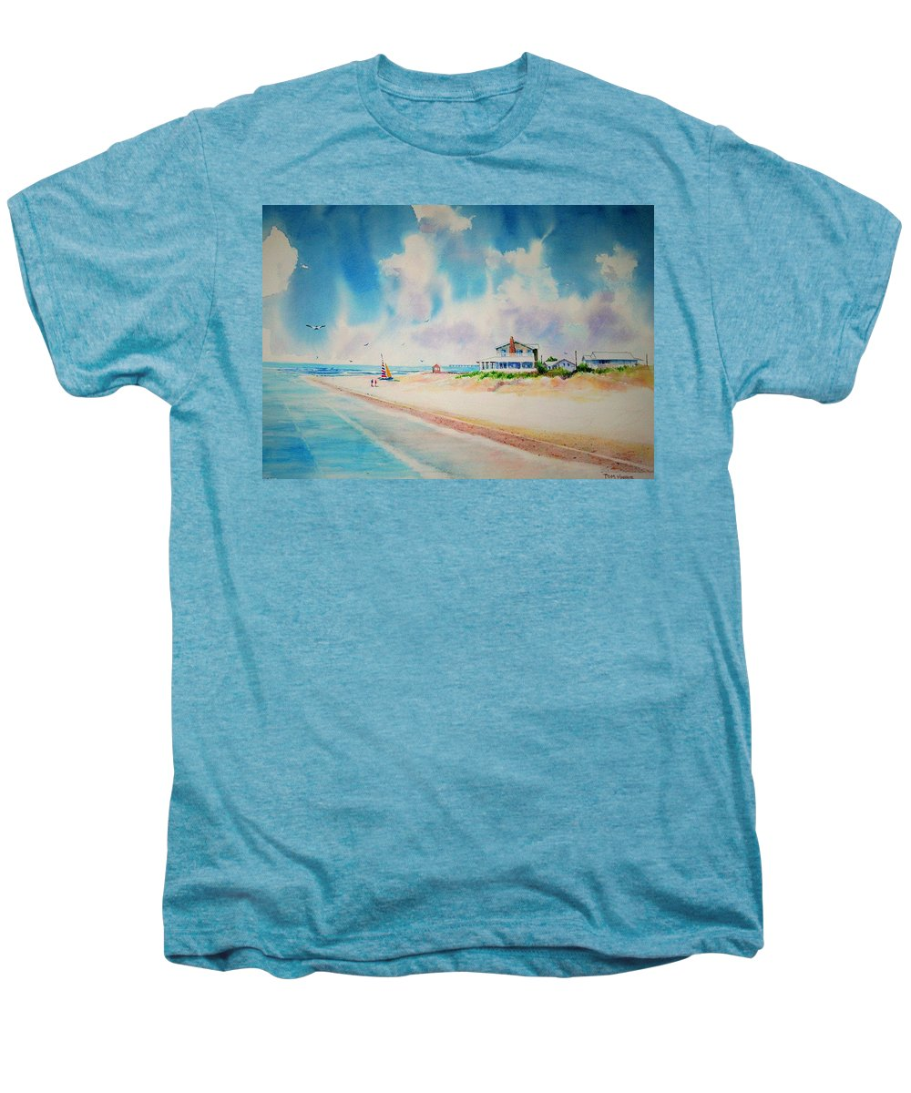 Beach Men's Premium T-Shirt featuring the painting First Day Of Vacation Is Pricless by Tom Harris