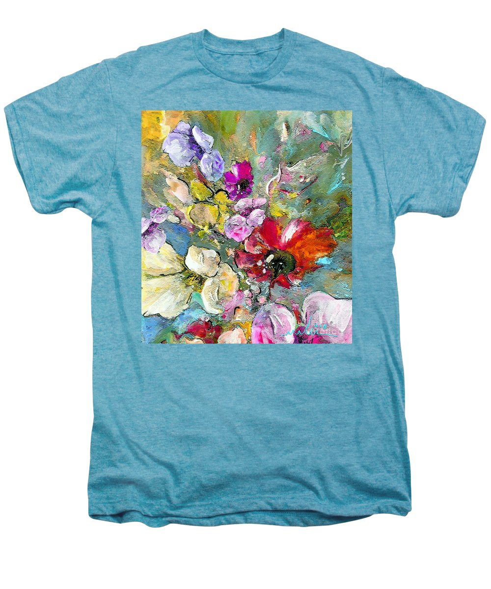 Nature Painting Men's Premium T-Shirt featuring the painting First Flowers by Miki De Goodaboom