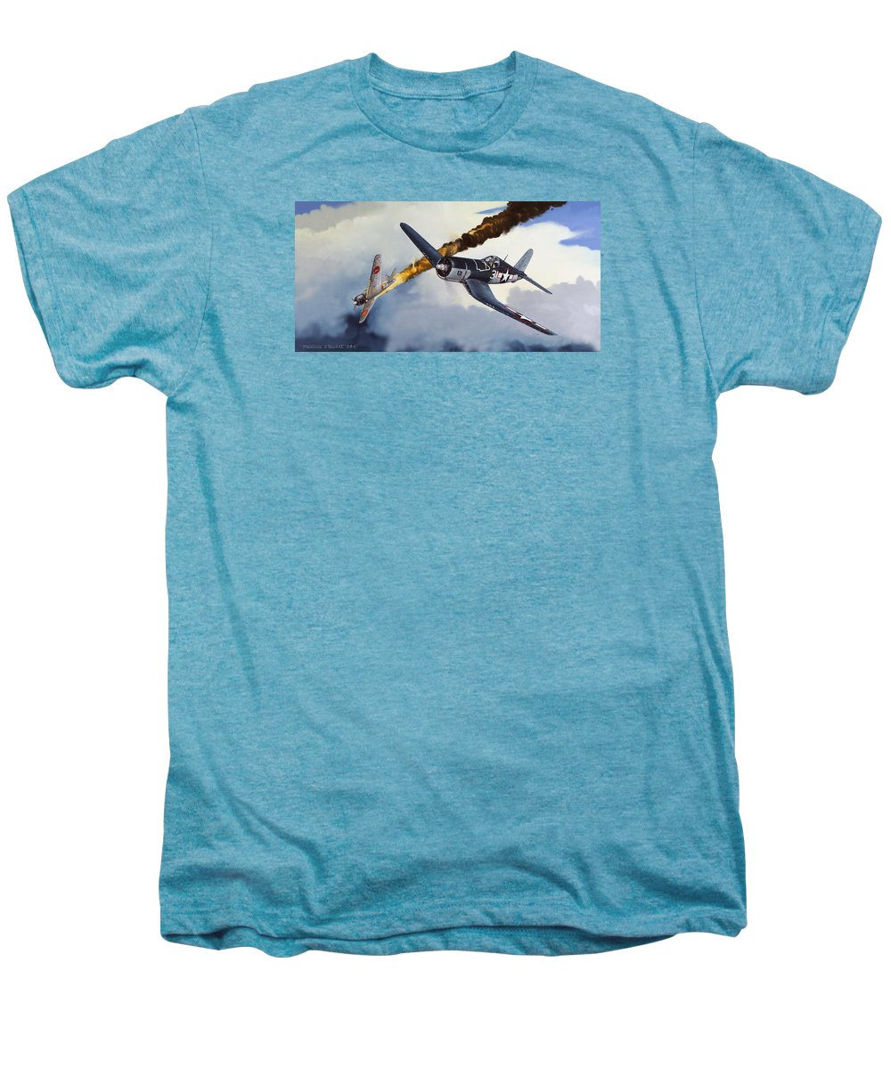 Military Men's Premium T-Shirt featuring the painting First Kill For The Jolly Rogers by Marc Stewart