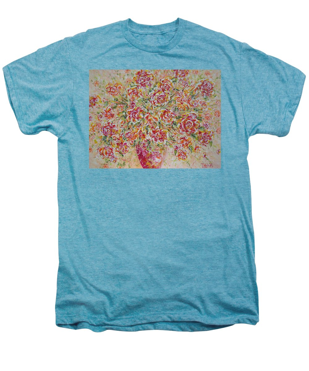 Flowers. Floral Men's Premium T-Shirt featuring the painting First Love Flowers by Natalie Holland
