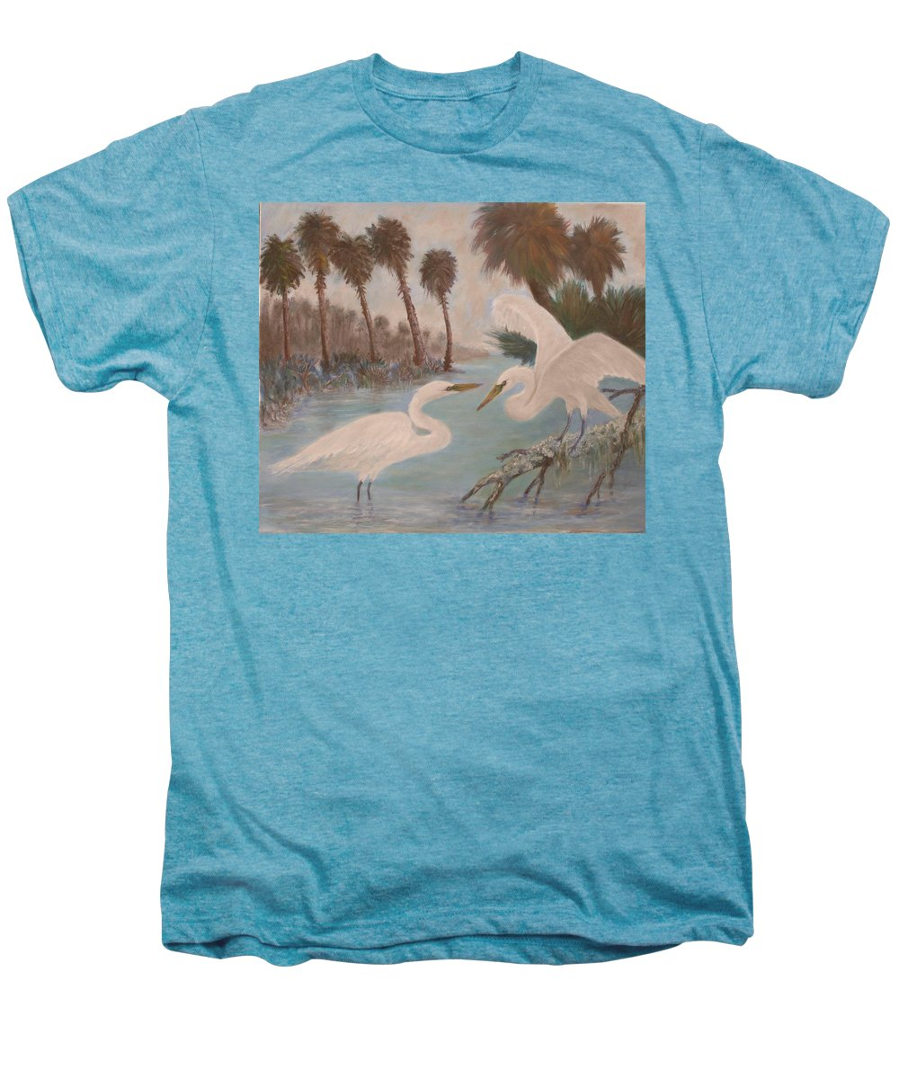 Egret Men's Premium T-Shirt featuring the painting First Meeting by Ben Kiger