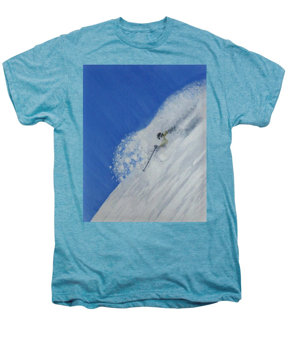 Ski Men's Premium T-Shirt featuring the painting First by Michael Cuozzo