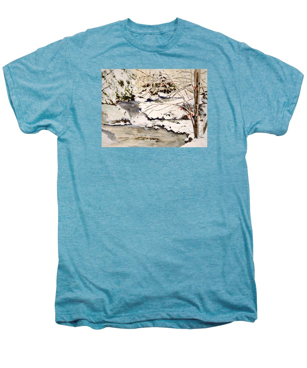 Winter Scene Men's Premium T-Shirt featuring the painting First Snowfall by Jean Blackmer