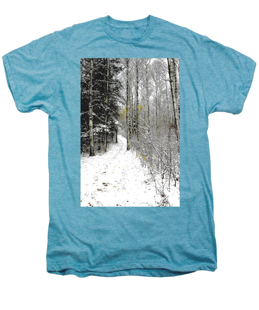 Winter Men's Premium T-Shirt featuring the photograph First Snowfall by Nelson Strong