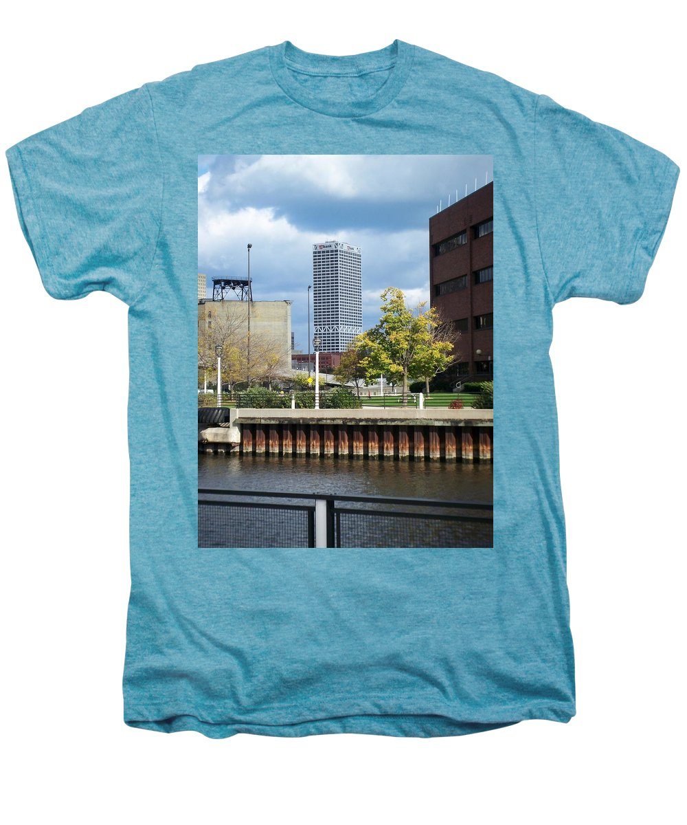 First Star Bank Men's Premium T-Shirt featuring the photograph First Star Tall View From River by Anita Burgermeister