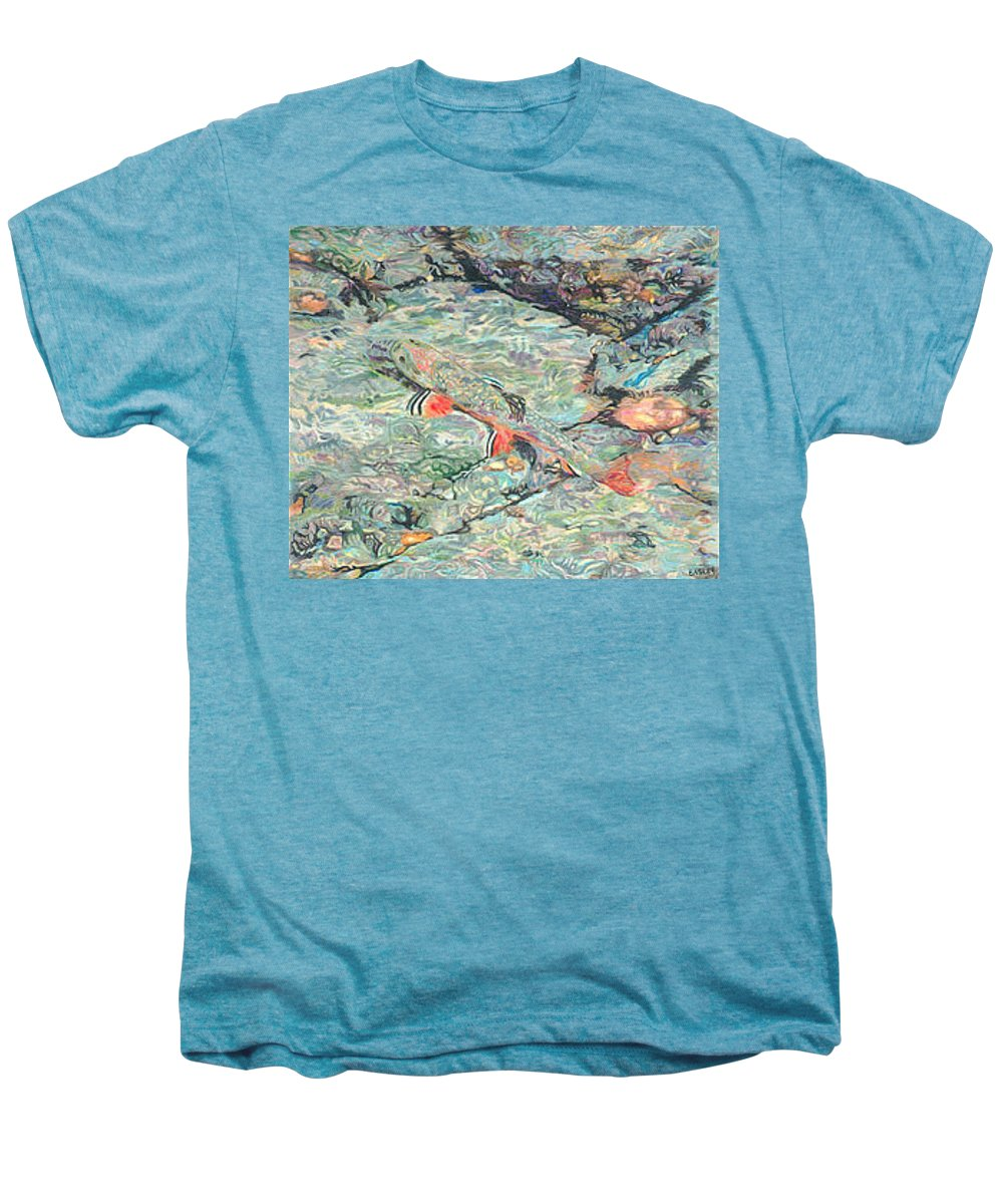 Art Men's Premium T-Shirt featuring the drawing Fish Art Trout Art Brook Trout Brookie Artwork Nature Underwater Wildlife Creek Art River Art Lake by Baslee Troutman
