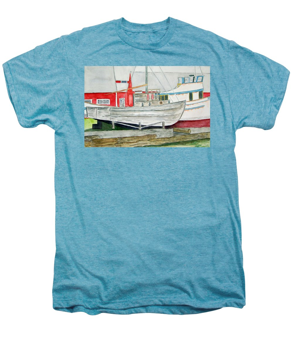 Alaska Art Men's Premium T-Shirt featuring the painting Fish Out Of Water by Larry Wright