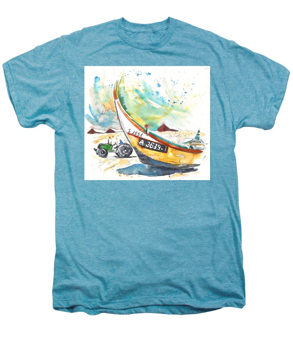 Portugal Men's Premium T-Shirt featuring the painting Fisherboat In Praia De Mira by Miki De Goodaboom