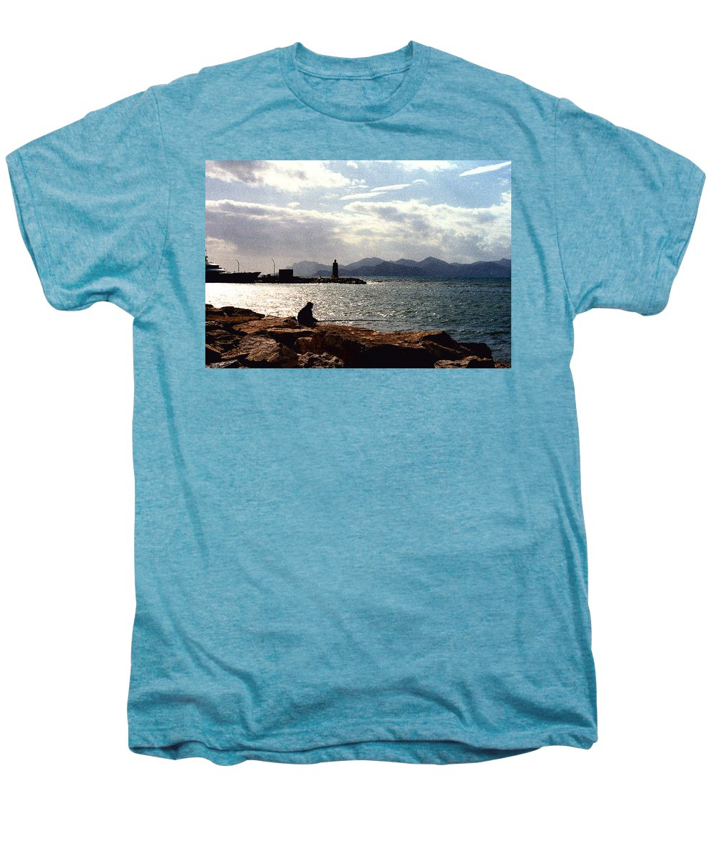 Fisherman Men's Premium T-Shirt featuring the photograph Fisherman In Nice France by Nancy Mueller