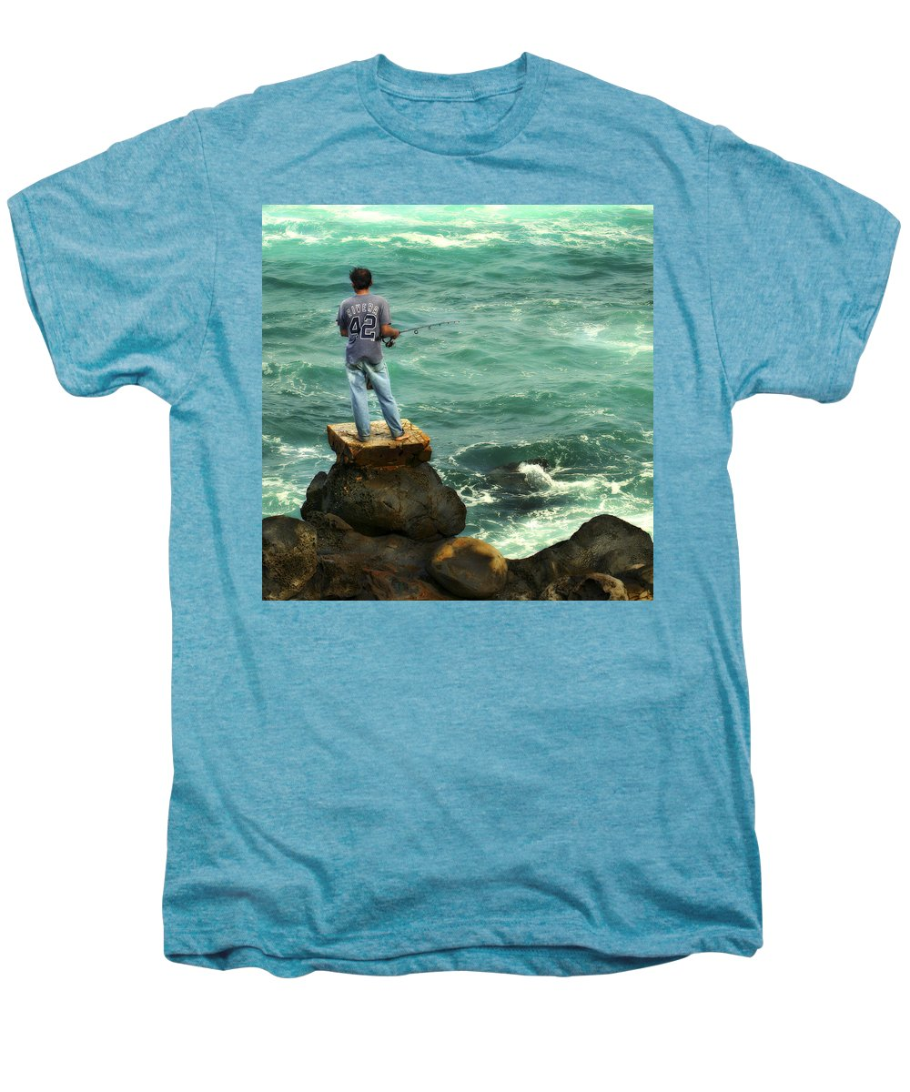 Americana Men's Premium T-Shirt featuring the photograph Fisherman by Marilyn Hunt