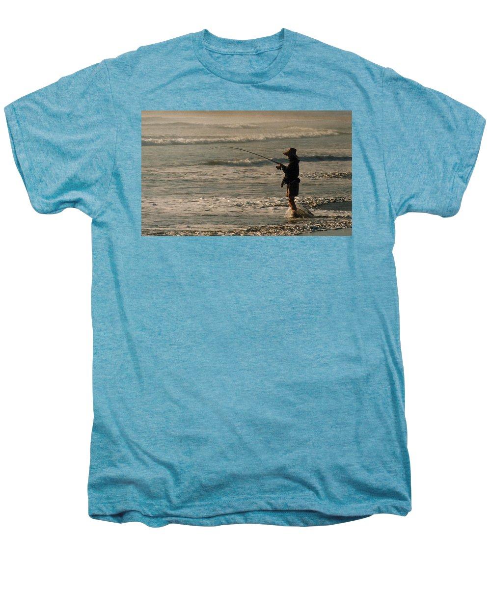 Fisherman Men's Premium T-Shirt featuring the photograph Fisherman by Steve Karol