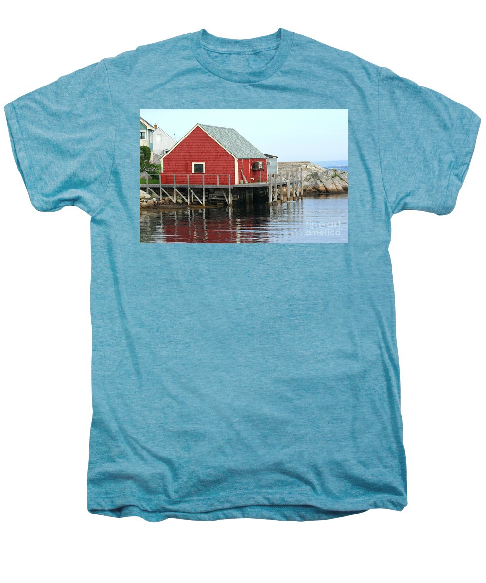 Peggy's Cove Men's Premium T-Shirt featuring the photograph Fishermans House On Peggys Cove by Thomas Marchessault