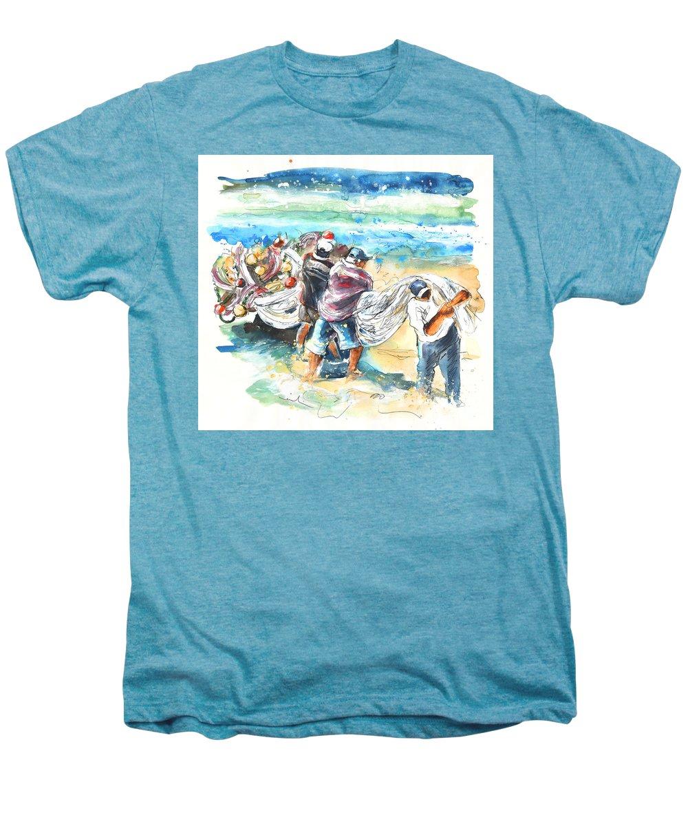 Portugal Men's Premium T-Shirt featuring the painting Fishermen In Praia De Mira by Miki De Goodaboom