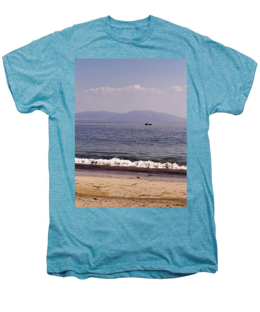 Irish Men's Premium T-Shirt featuring the photograph Fishing Boat On Ventry Harbor Ireland by Teresa Mucha