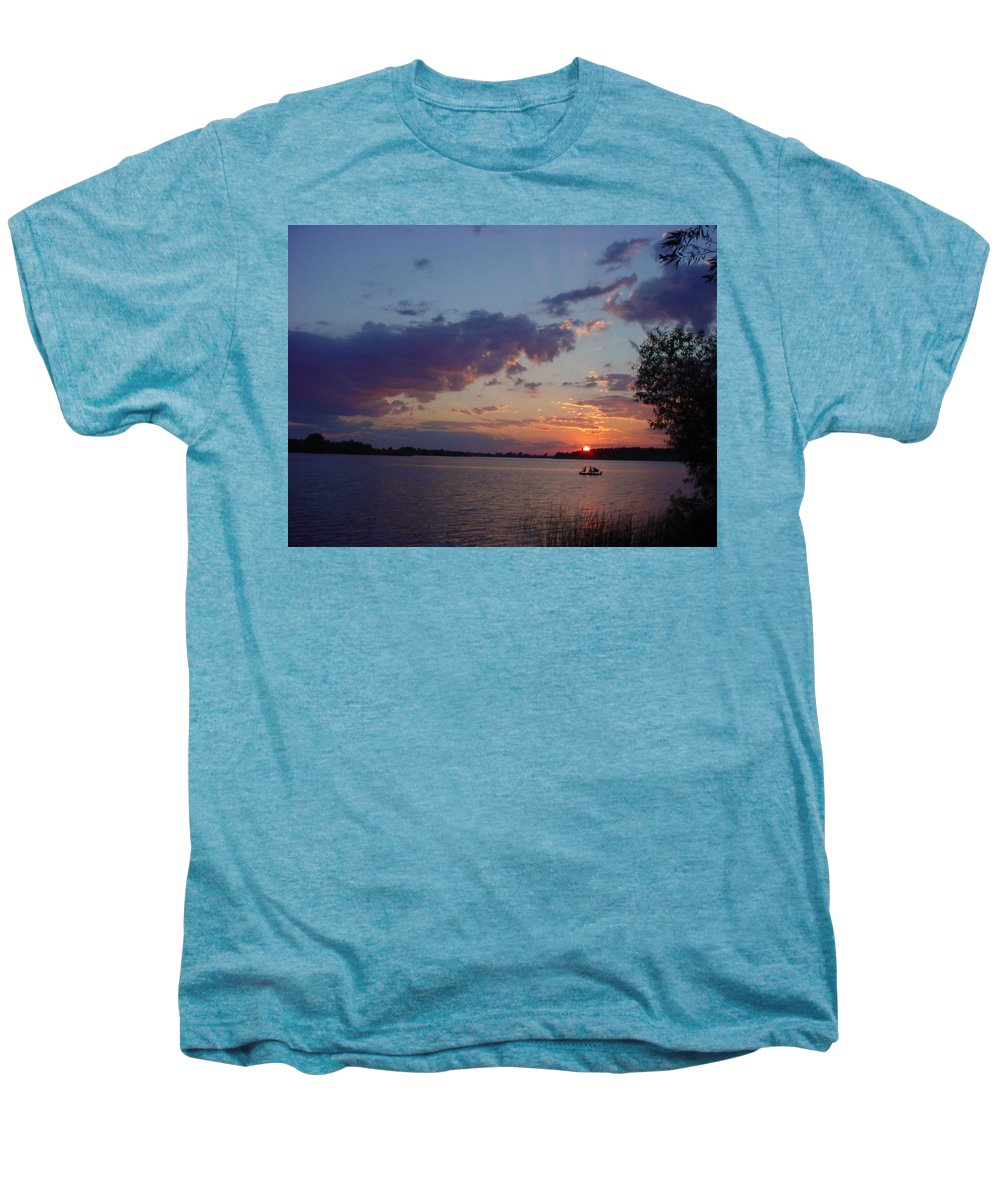 St.lawrence River Men's Premium T-Shirt featuring the photograph Fishing On The St.lawrence River. by Jerrold Carton
