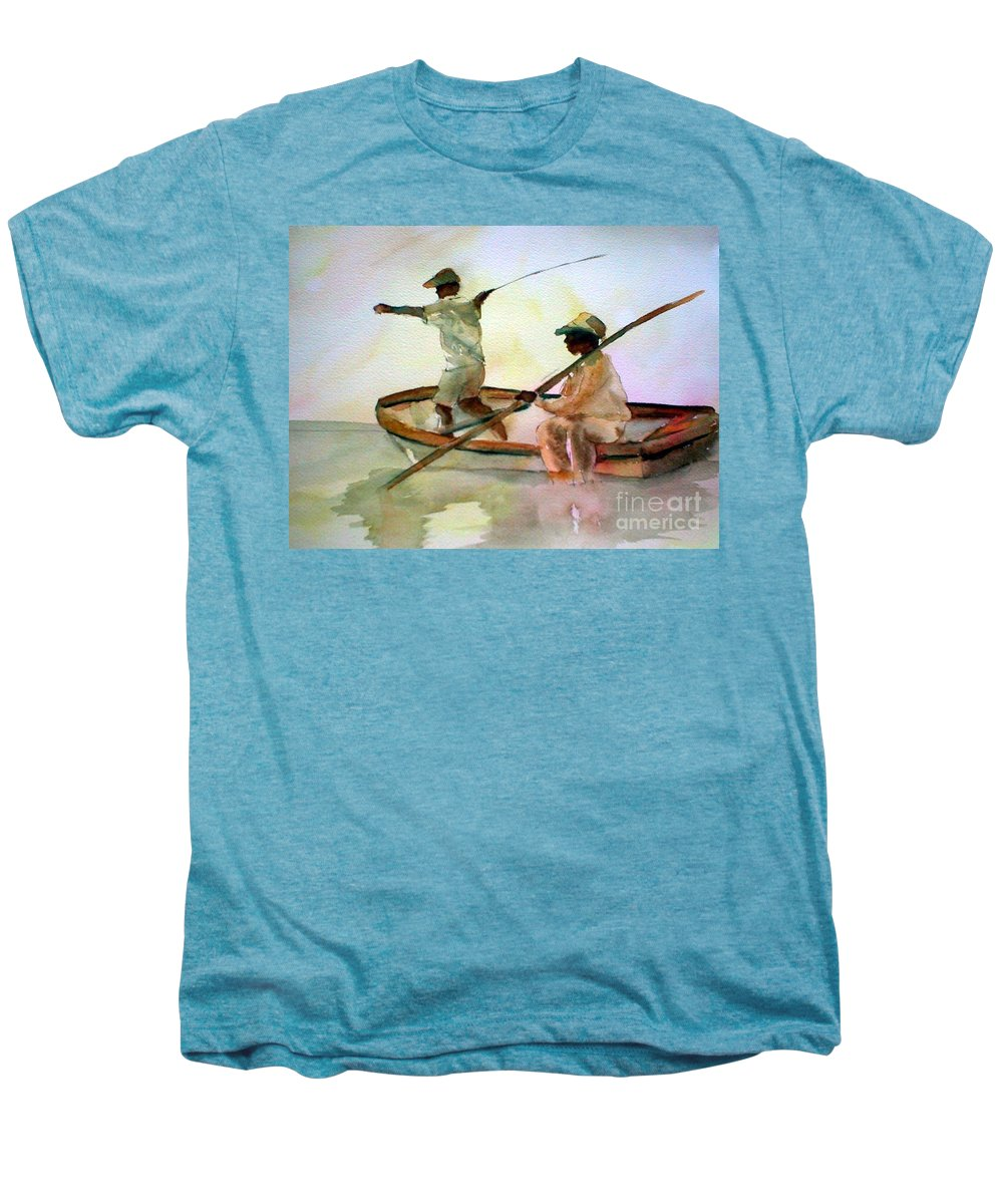 Fishing Men's Premium T-Shirt featuring the painting Fishing by Rhonda Hancock