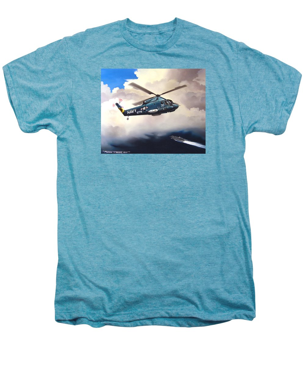 Military Men's Premium T-Shirt featuring the painting Flight Of The Seasprite by Marc Stewart