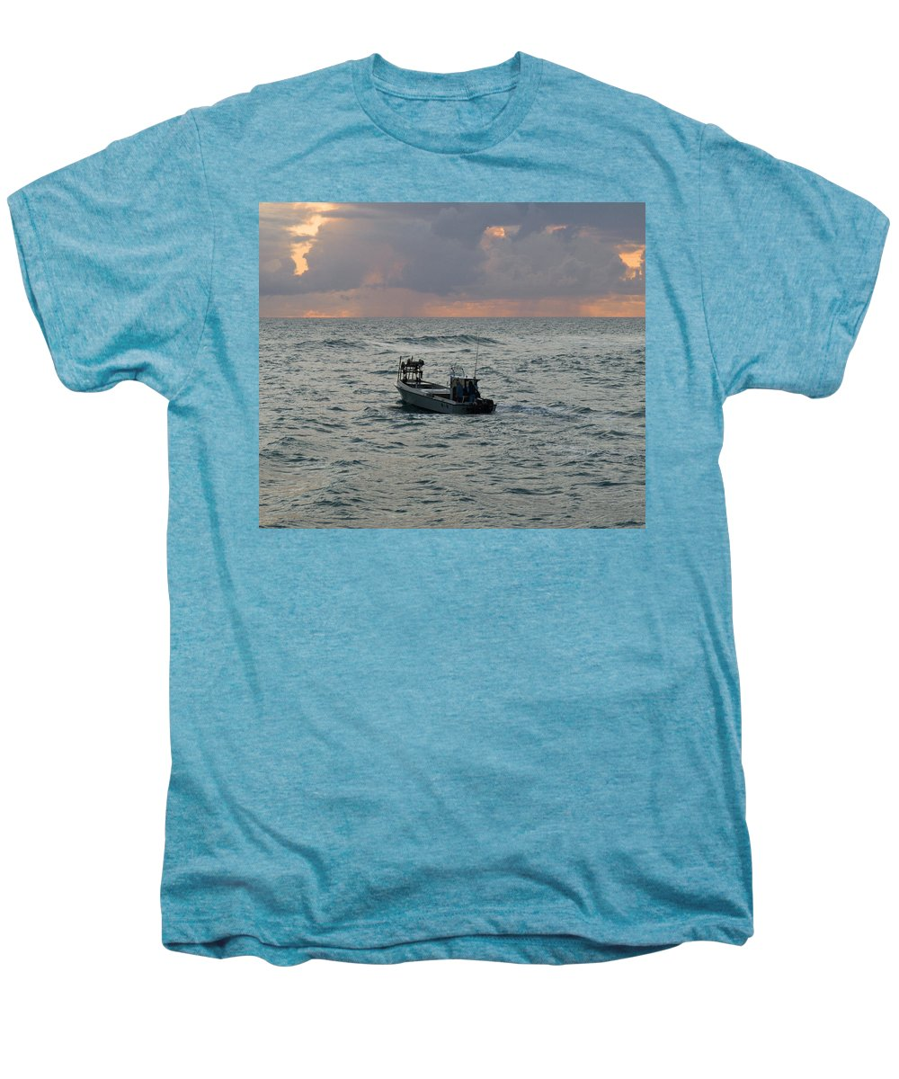 Florida; Lobster; Lobstermen; Lobsterman; Boat; Trap; Catch; Haul; Traps; Sebastian; Inlet; Atlantic Men's Premium T-Shirt featuring the photograph Florida Lobstermen At Dawn by Allan Hughes