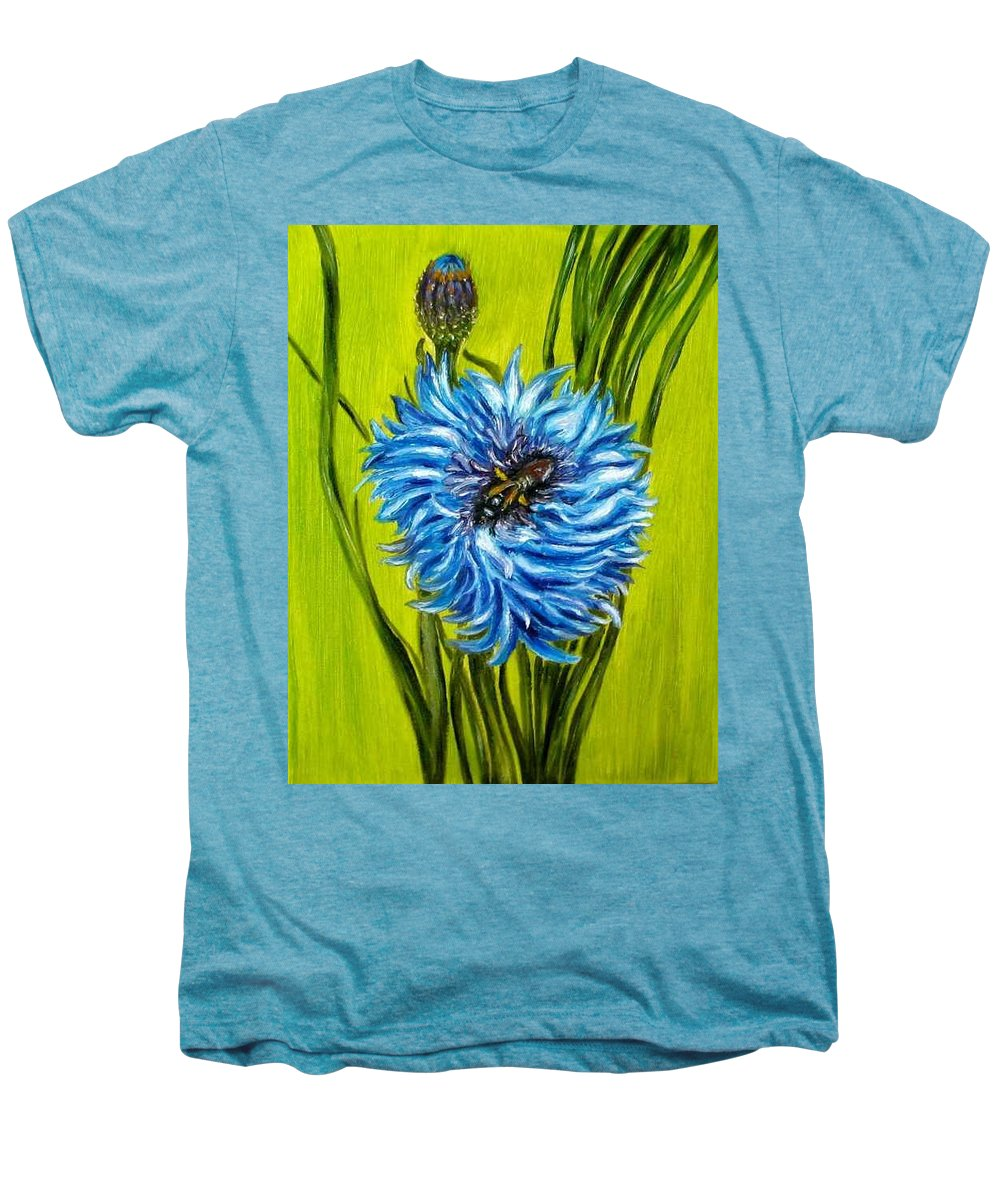 Flower Men's Premium T-Shirt featuring the painting Flower And Bee Oil Painting by Natalja Picugina