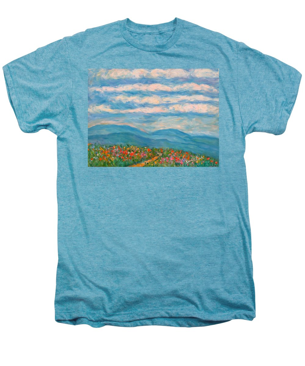 Blue Ridge Paintings Men's Premium T-Shirt featuring the painting Flower Path To The Blue Ridge by Kendall Kessler