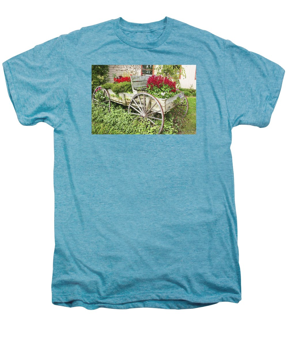 Wagon Men's Premium T-Shirt featuring the photograph Flower Wagon by Margie Wildblood