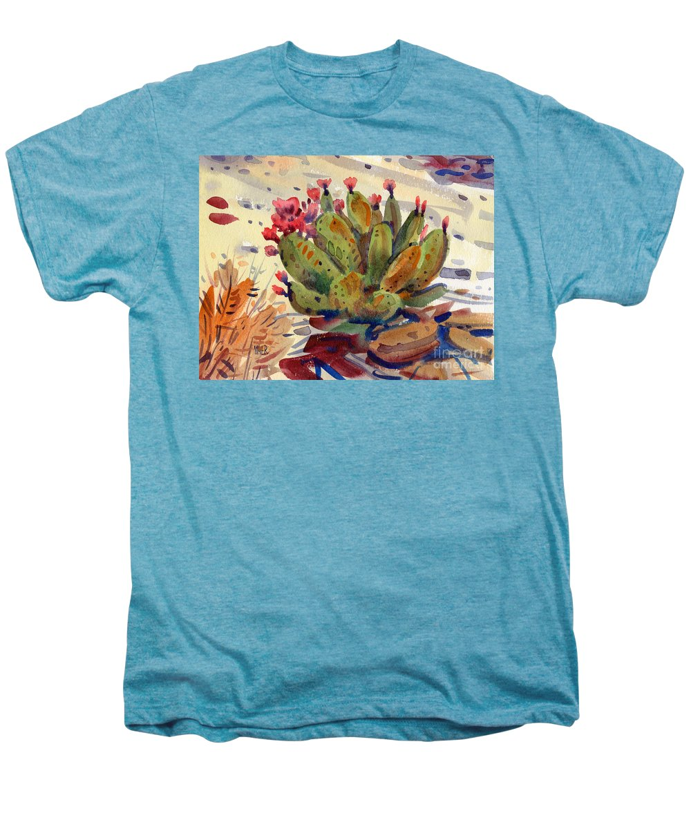 Opuntia Cactus Men's Premium T-Shirt featuring the painting Flowering Opuntia by Donald Maier