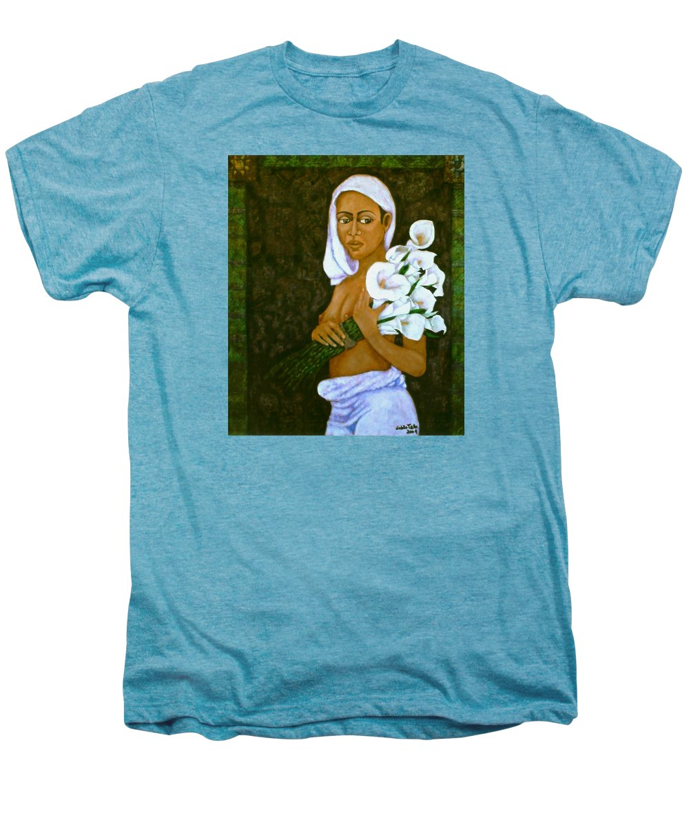 Love Men's Premium T-Shirt featuring the painting Flowers For An Old Love by Madalena Lobao-Tello