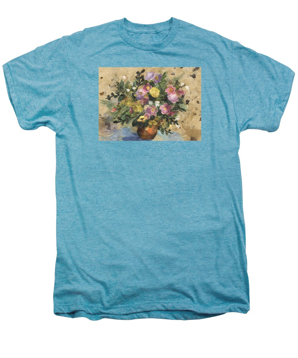 Limited Edition Prints Men's Premium T-Shirt featuring the painting Flowers In A Clay Vase by Nira Schwartz