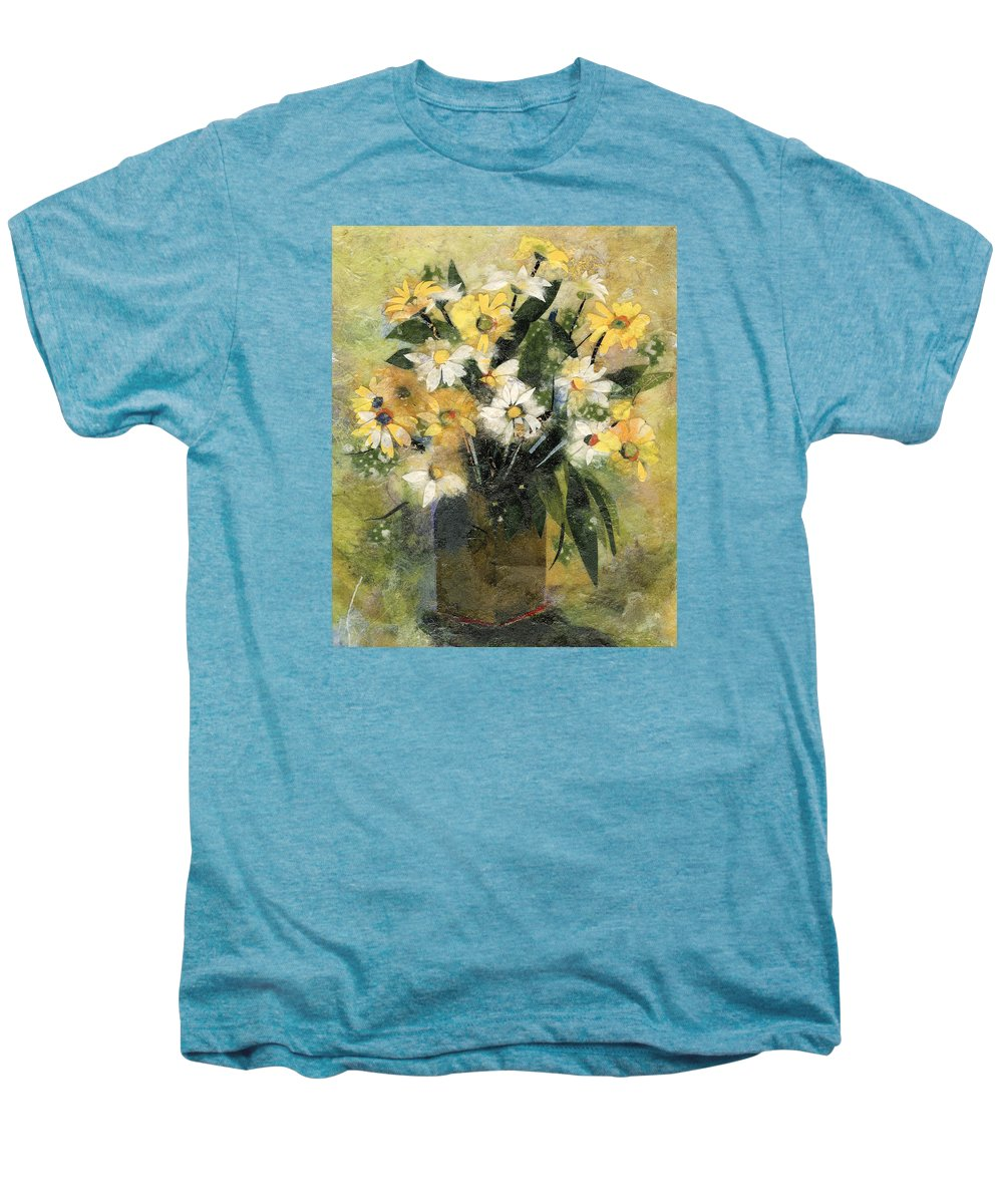 Limited Edition Prints Men's Premium T-Shirt featuring the painting Flowers In White And Yellow by Nira Schwartz