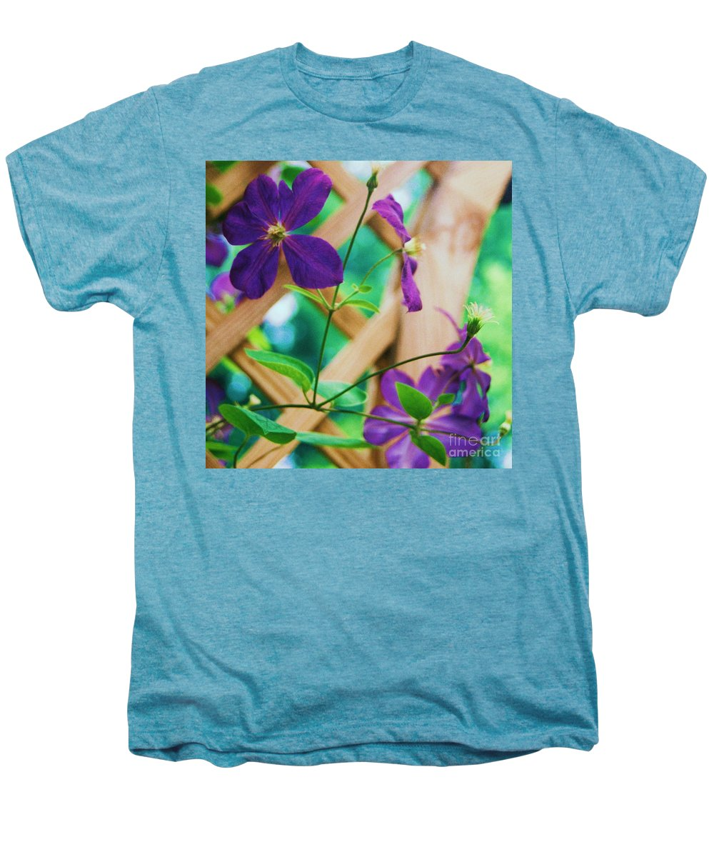 Floral Men's Premium T-Shirt featuring the painting Flowers Purple by Eric Schiabor