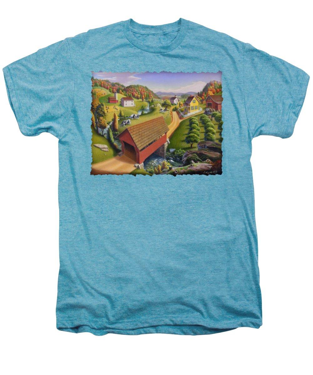 Covered Bridge Men's Premium T-Shirt featuring the painting Folk Art Covered Bridge Appalachian Country Farm Summer Landscape - Appalachia - Rural Americana by Walt Curlee
