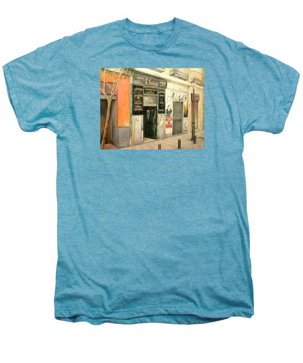 Streetscene Men's Premium T-Shirt featuring the painting Fontaneria E.garcia by Tomas Castano