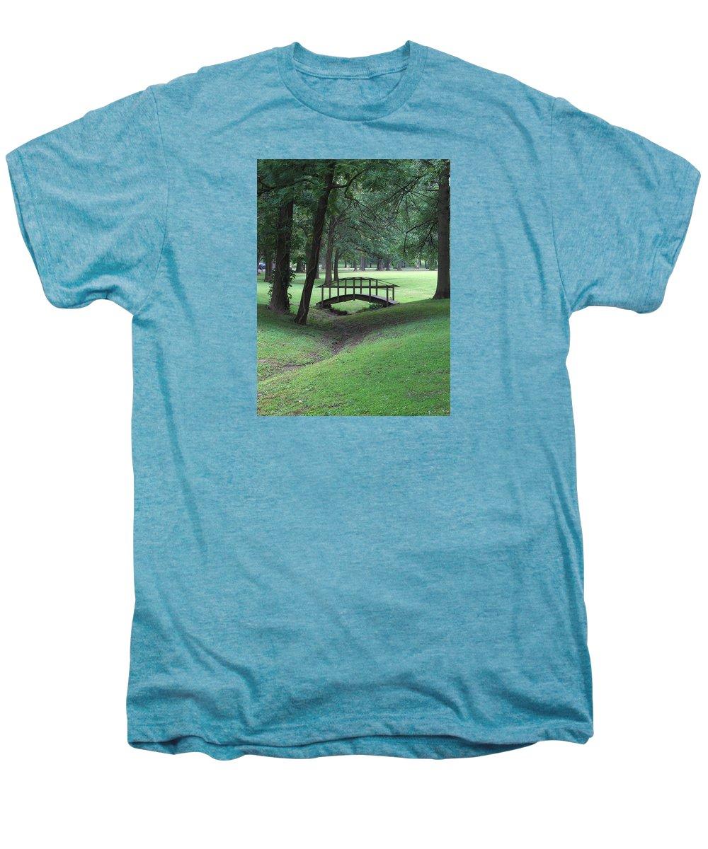 Bridge Men's Premium T-Shirt featuring the photograph Foot Bridge In The Park by J R Seymour