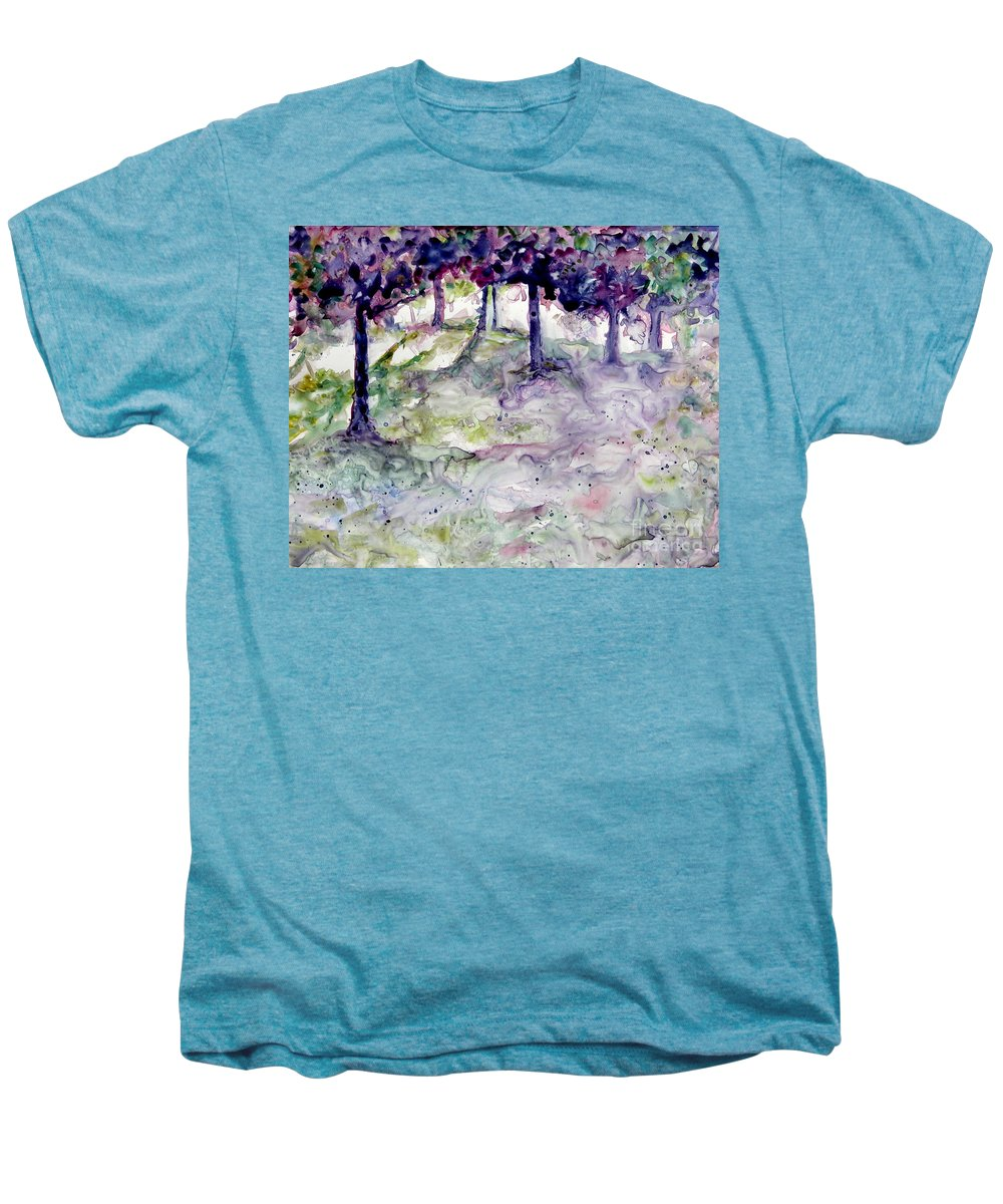 Fastasy Men's Premium T-Shirt featuring the painting Forest Fantasy by Jan Bennicoff