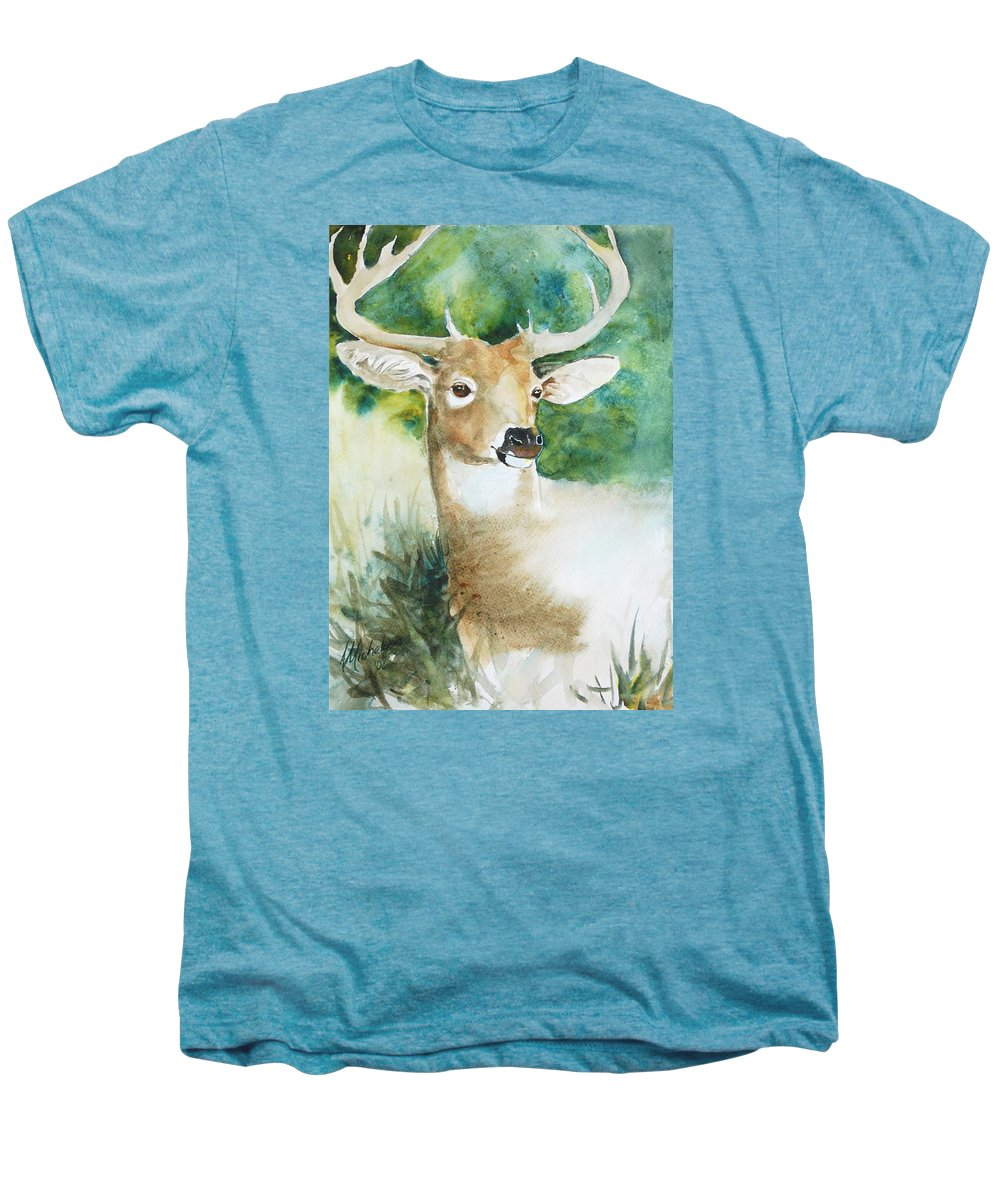 Deer Men's Premium T-Shirt featuring the painting Forest Spirit by Christie Michelsen