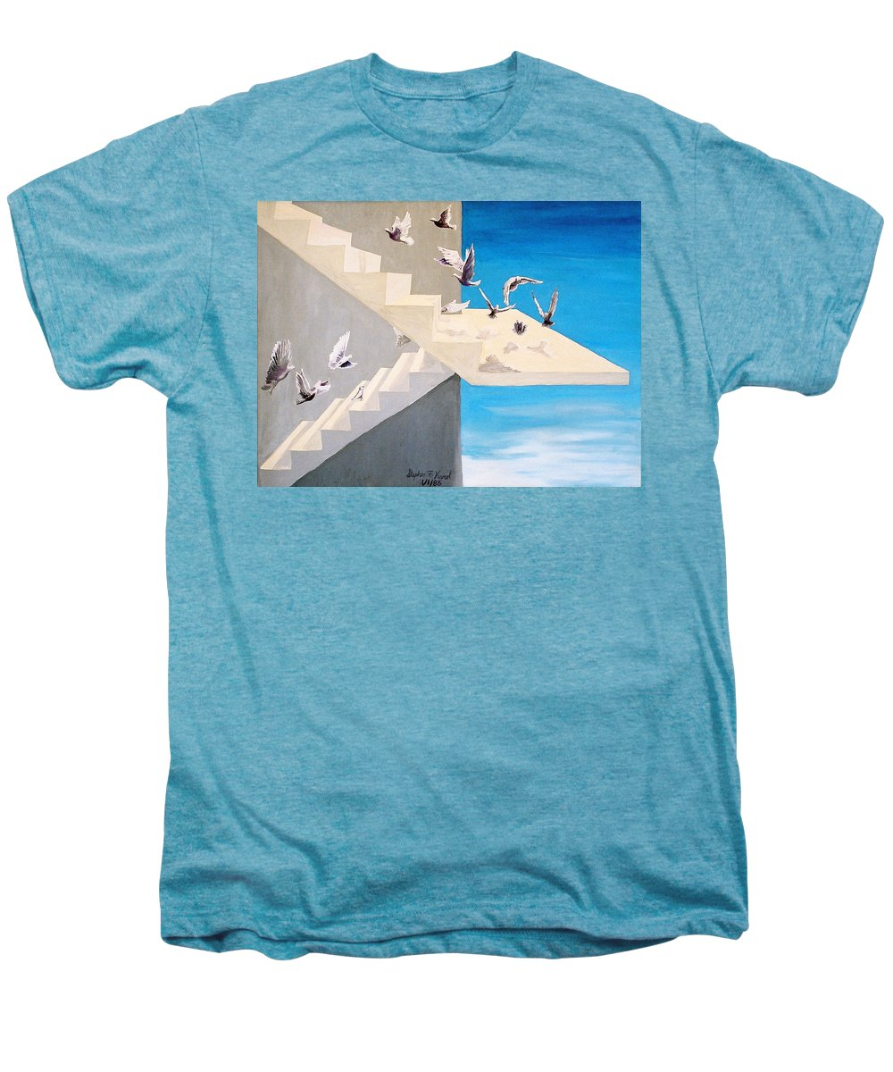 Birds Men's Premium T-Shirt featuring the painting Form Without Function by Steve Karol