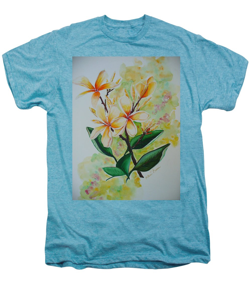 Men's Premium T-Shirt featuring the painting Frangipangi by Karin Dawn Kelshall- Best