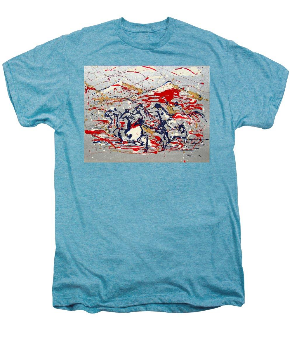 Freedom On The Open Range Men's Premium T-Shirt featuring the painting Freedom On The Open Range by J R Seymour