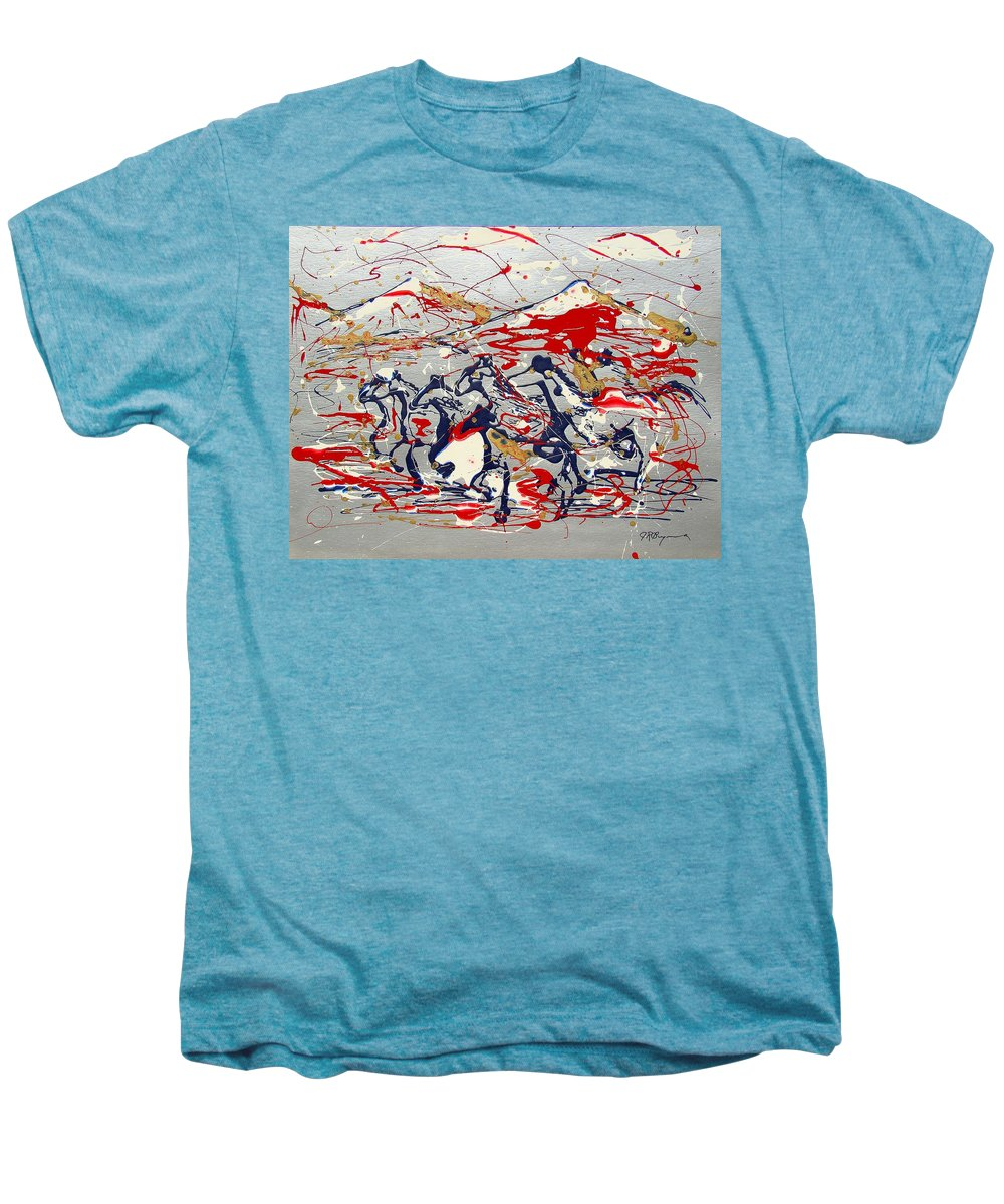 Freedom On The Open Range Men's Premium T-Shirt featuring the painting Freedom On The Open Range by J R Seymour
